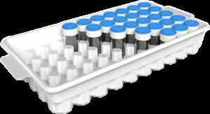 piece logistique plateau de calage transport et stockage de doses en verre